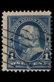 """FÖRENTA STATERNA - CIRCA 20-tal: Tappning USA 1 centportostämpel med ståenden Benjamin Franklin January 17, 1706 †""""April 17, 17 arkivbilder"""