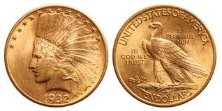 Förenta staterna guld- mynt 10 dollar indisk huvudtappning 1932 royaltyfria foton
