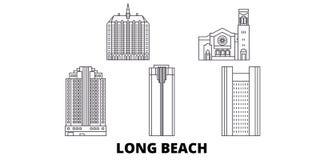 Förenta staterna Long Beach linje lopphorisontuppsättning Förenta staterna illustration för vektor för Long Beach översiktsstad,  vektor illustrationer