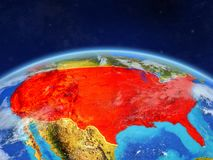 Förenta staterna på jord från utrymme vektor illustrationer