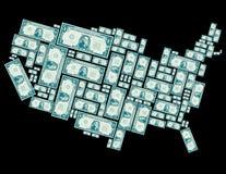 Förenta staterna som göras ut ur en dollar räkningar Arkivfoto