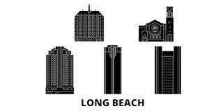 Förenta staterna uppsättning för Long Beach plan lopphorisont Förenta staterna illustration för vektor för Long Beach svartstad,  royaltyfri illustrationer