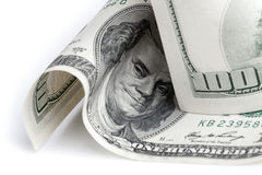 Förenta staternadollar Fragment av hundra USD sedel Arkivfoto