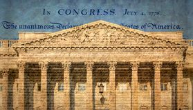 Förenta staternaKapitoliumbyggnad med berömd förklaring arkivbild