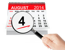 Förenta staternakustbevakning Day Concept 4 Augusti 2014 kalenderwi Royaltyfri Foto