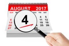Förenta staternakustbevakning Day Concept 4 Augusti 2017 kalenderwi Arkivfoton