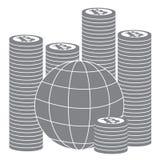 Föreställa att beskriva möjligheterna av att använda bitcoin som hjälpmedel royaltyfri illustrationer