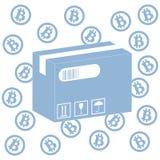 Föreställa att beskriva möjligheterna av att använda bitcoin som hjälpmedel stock illustrationer
