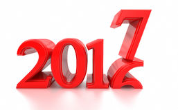 2016-2017 föreställer ändring det nya året 2017 Arkivbilder