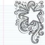 Föreställer det Sketchy klottret för stjärna inramar vektordesign Arkivfoto