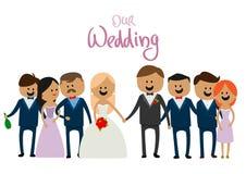 Företag av folk på den härliga bröllopbögen Royaltyfria Bilder