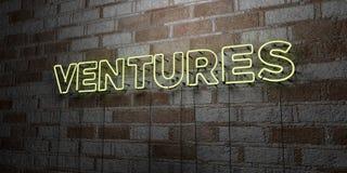 FÖRETAG - Glödande neontecken på stenhuggeriarbeteväggen - 3D framförde den fria materielillustrationen för royalty royaltyfri illustrationer