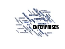 FÖRETAG - ordmolnwordcloud - uttryck från den globalisering-, ekonomi- och politikmiljön stock illustrationer