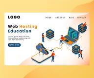 Företag som behandlar websiten som är värd isometriskt konstverkbegrepp royaltyfri illustrationer