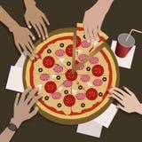 Företaget av vänner äter pizza royaltyfri illustrationer