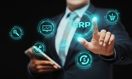 Företagresurs som planerar för företagsdirektionaffär för ERP företags begrepp för teknologi för internet royaltyfria foton