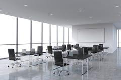 Företags arbetsplatser som utrustas av moderna bärbara datorer i ett modernt panorama- kontor, vitt kopieringsutrymme i fönstren royaltyfri illustrationer