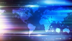 Företags blå ögla för världskartapanna 4K royaltyfri illustrationer