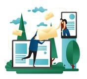 Företags dela för teamworkEmail Kontorsfolket överför brev från bärbara datorn till Smartphone till varandra Designbegrepp av öve royaltyfri illustrationer