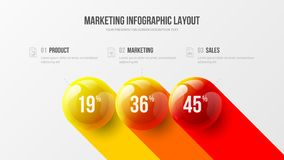 Företags 3 infographic analyticsdata för alternativ anmäler illustrationen för bollar för designpresentationsvektorn 3D den färgr royaltyfri illustrationer