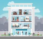 Företags kontorsbyggnad stock illustrationer