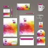 Företags orientering för mall för design för märkesaffärsidentitet Bokstav brevhuvud, mapp, kort Vektorföretagstriangel stock illustrationer