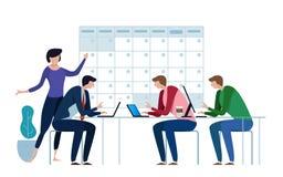 Företagsaffärslag som arbetar tillsammans att planera och planlagd av deras operationdagordning på en stor kalender Plan stil vektor illustrationer
