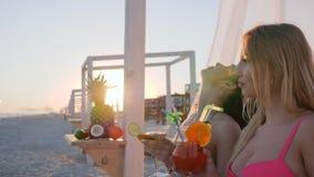 Företagsflickvänner på stranden, sommar vilar på strandpartiet som ler flickor som dricker alkohol nära havet, systrar som in tal stock video