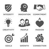 Företagskärnan värderar fasta symboler Royaltyfria Foton