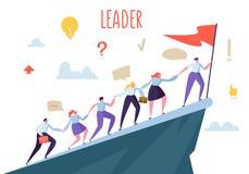 Företagsledare Concept Plana folktecken som klättrar överkantmaximumet Teamwork och ledarskap, affärsman med flaggan stock illustrationer