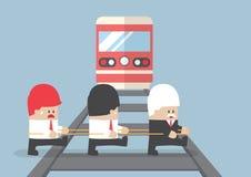 Företagsledarekorsning järnväg, genom att ignorera hans lag vektor illustrationer