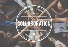 Företagssamarbete förbinder samarbetsbegrepp arkivbild