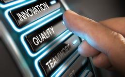 Företagsvärden, innovation, kvalitet och teamwork Arkivfoto