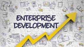 Företagutveckling som dras på den vita tegelstenväggen 3d vektor illustrationer
