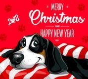 Förfölja Glad jul och ett lyckligt nytt år 2018 Lycklig rolig valp stock illustrationer