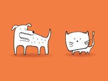 Förfölja och katten Royaltyfri Illustrationer