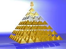 Förförisk bedräglig pyramid som överträffas av ett guld- Royaltyfri Fotografi