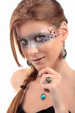 Förförisk seende halsband för gemstone för flickaturkostopas Arkivfoto