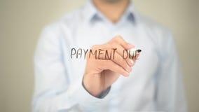 Förfallen betalning, manhandstil på den genomskinliga skärmen Royaltyfri Foto