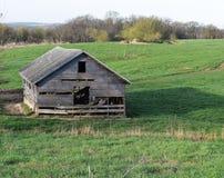 Förfallen lantgårdbyggnad i ett gräs- fält Royaltyfria Foton