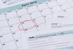 Förfallet datum för 2017 skatter Royaltyfri Fotografi