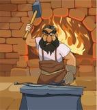 Förfalskar den manliga hovslagaren för tecknade filmen ett svärd i smedjan stock illustrationer