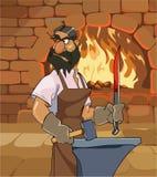 Förfalskar ser den manliga hovslagaren för tecknade filmen ett svärd och menacingly tillbaka stock illustrationer