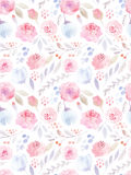 författare blommar vattenfärg för I-målningsbild seamless modell gulliga ro Arkivbilder