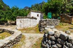 Förflyttad by Samaria i Samaria Gorge, Kreta Arkivbilder