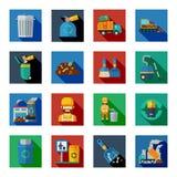 Förfogande av färgrika fyrkantiga symboler för avfalls royaltyfri illustrationer