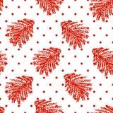Förgrena sig den sömlösa modellen för julpricken med den röda granen för handattraktion stock illustrationer