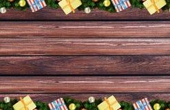 Förgrena sig klumpa ihop sig härliga askar för festlig julgarnering med band av gran och på grungebakgrundsbräden royaltyfri bild