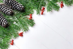 Förgrena sig sammansättning för det nya året för jul med tangerin, kottar, muttrar, den vide- korgen och gran i lantlig stil på g Royaltyfria Bilder