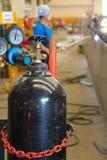 Förgrund för gasbehållare Fotografering för Bildbyråer